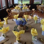Table setup with burlap table cloths