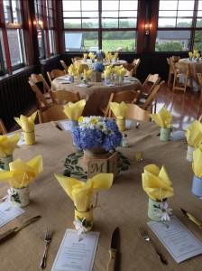 Table setup with burlap table cloths