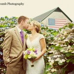 Newlyweds outside Sunset Farm