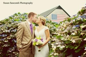 Newlyweds outside Sunset Farm